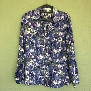 Coldwater Creek No Iron Floral Button Down 10-12